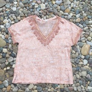 J. Crew Fringe Sequin Tunic Top in Peach Size 12